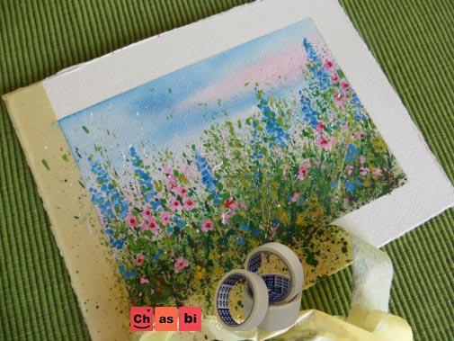 چسب کاغذی در نقاشی با آبرنگ