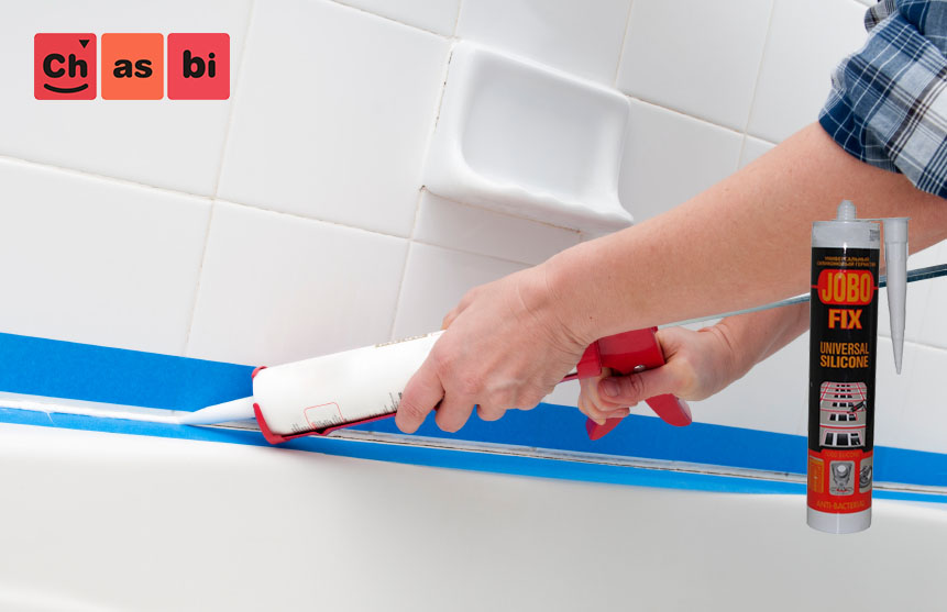 آب بندی وان حمام با چسب سیلیکون سفید جوبو